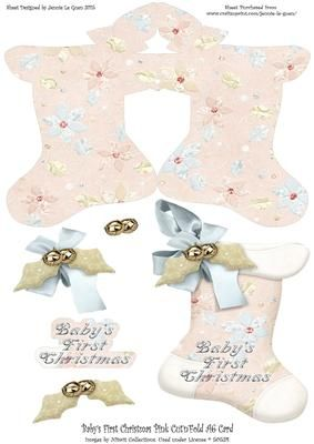 Baby s First Christmas Cut n Fold A6 Card Pink on Craftsuprint - Add To Basket!