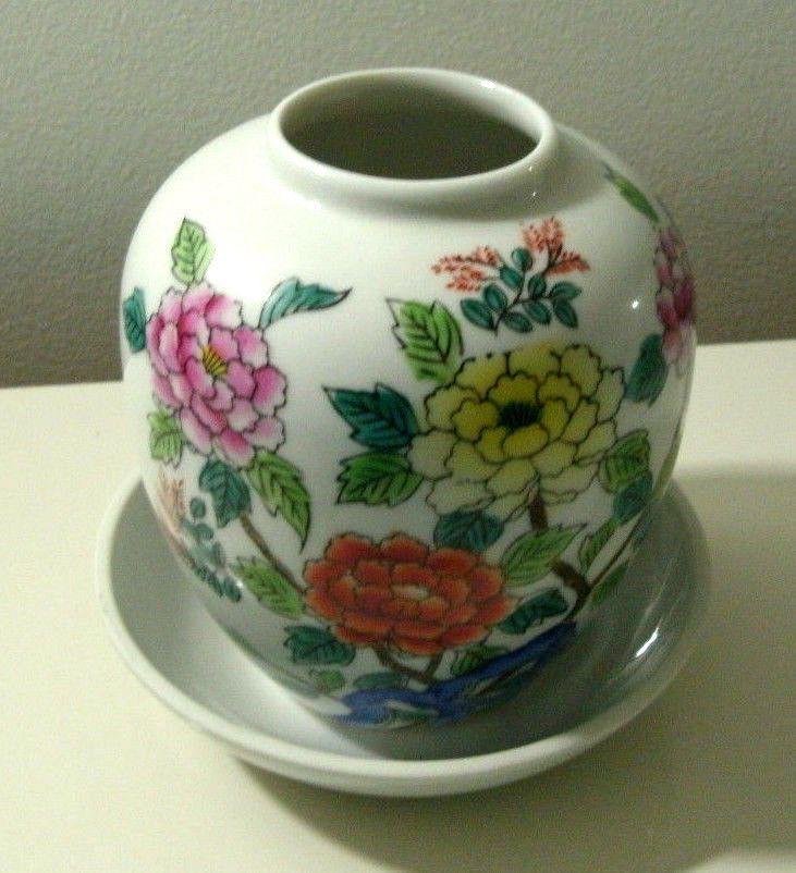 """Small Flowered Unmarked Vase/5.5""""D Plain White Elizabeth Arden 5.5""""D Glass Bowl #Smallfloralvaseandwhitebowl Or Best Offer"""