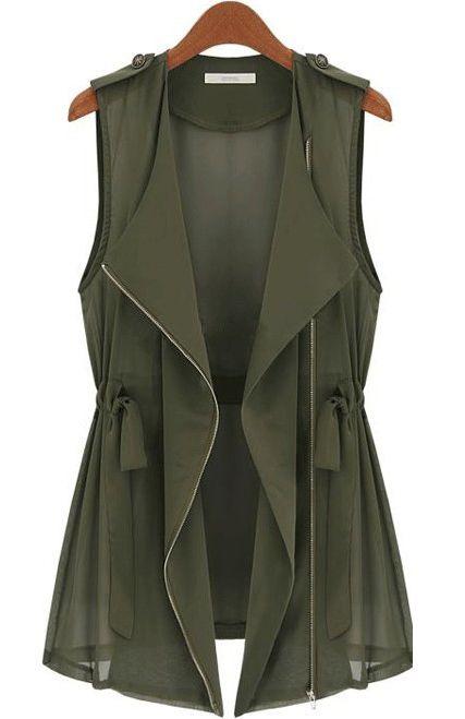 Army Green Sleeveless Epaulet Vest
