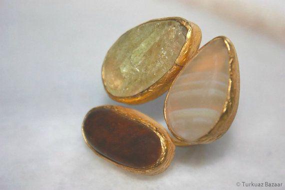 Safiye Ring Agate Tigers Eye & Quartz Handcrafted by TurkuazBazaar, $70.00