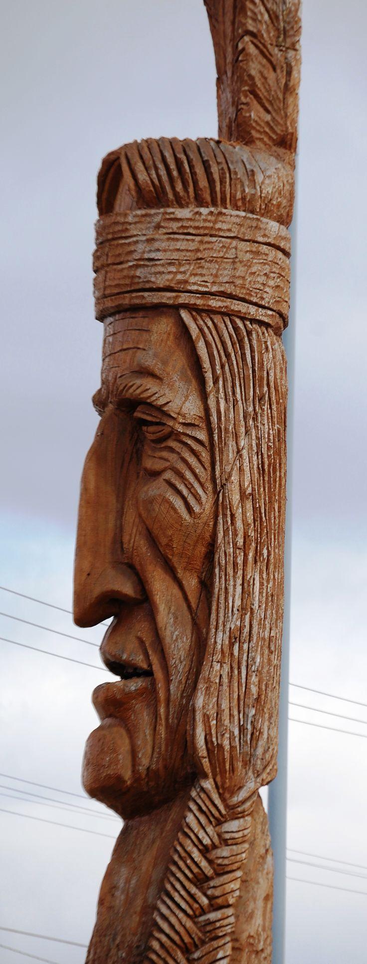 Giant Indian Head wood carving in Idaho Falls, Idaho