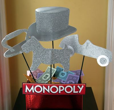 DIY Monopoly Game Pieces Table Decor - Cardboard with silver glitter