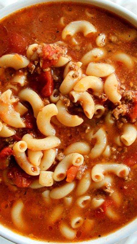 Classic Beef & Tomato Macaroni Soup ~ Perfect comfort food, this soup is seriously the best - LEAVE OUT THE BROWN SUGAR