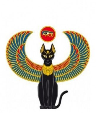 Egyptian Cat Tattoo with Wings | Egyptian Cat with Wings Red and Gold and Blue