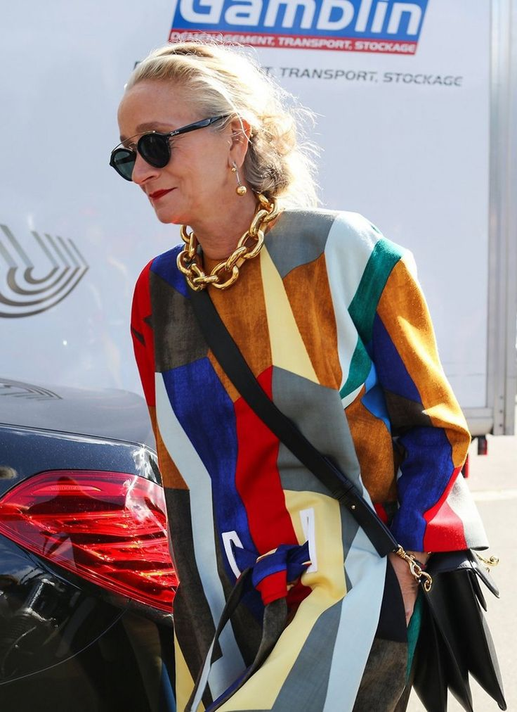 Lucinda Chambers in Marni and J.W. Anderson spotted on the street at Paris Fashion Week. Photographed by Phil Oh.
