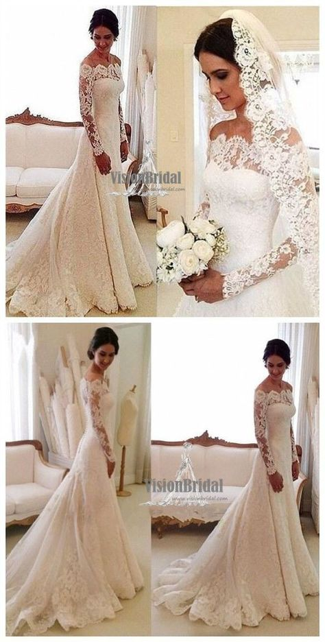 Beautiful Off The Shoulder Long Sleeve Lace Wedding Dress With Trailing, Wedding…