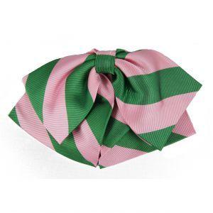 Gotowa muszka damska w różowo-zielone pasy