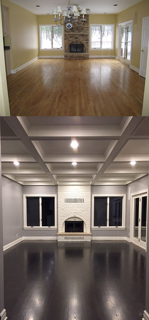Before and After: Our hearth room!  What a difference a coffered ceiling, painted fireplace, gray walls, and dark wood floors make!  Walls are Sherwin Williams March Wind and trim is Benjamin Moore Moonlight White in semi-gloss (fireplace is eggshell finish).  The oak hardwood floors were sanded and re-stained a deep espresso brown by Walk on Wood (Rochester, MN).  Special thanks to Karen at Design Studio B and Mike Allen Builders.