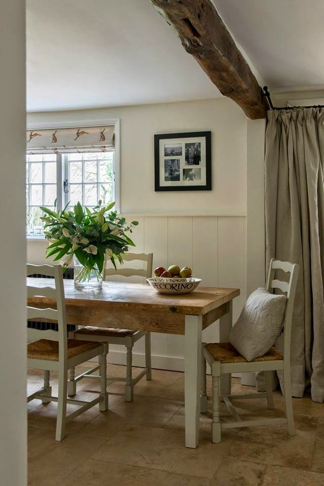 Modern Country Style: Modern Country Kitchen and Colour Scheme Click through for details. The table is painted in Farrow and Ball Shaded White, a warm taupey-grey. The chairs are painted in Farrow and Ball Old White, a warm greenish-grey.
