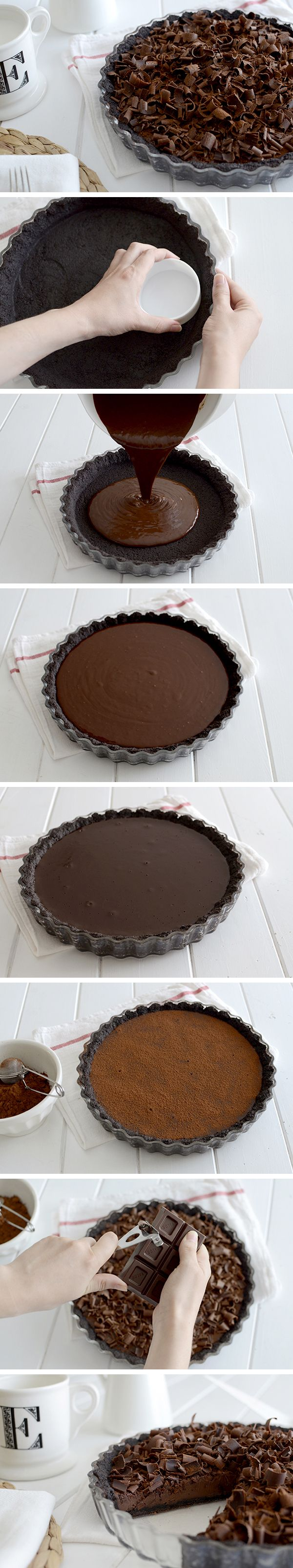 Chocolate tart - Tarta fina de chocolate                                                                                                                                                      Más