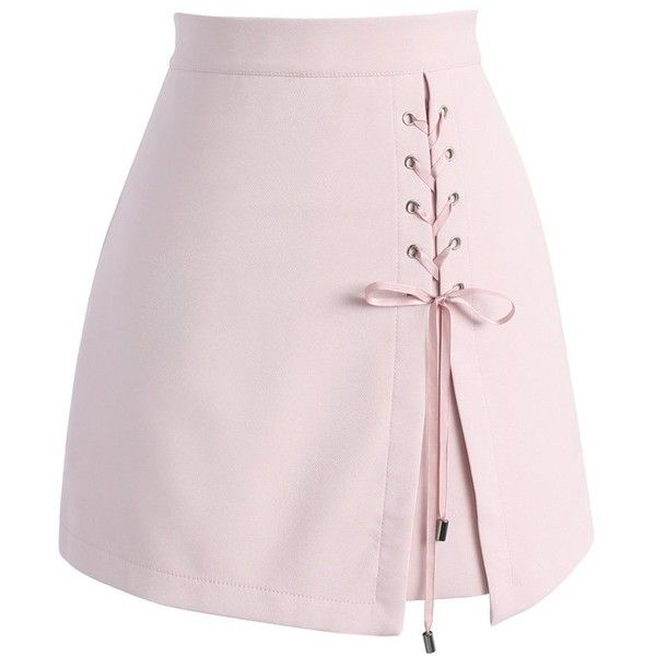 Chicwish Lace-up Obsession Bud Skirt in Pink (125 PEN) ❤ liked on Polyvore featuring skirts, mini skirts, bottoms, pink, short pink skirt, pink skirt, short skirts, pink mini skirt and pink miniskirt