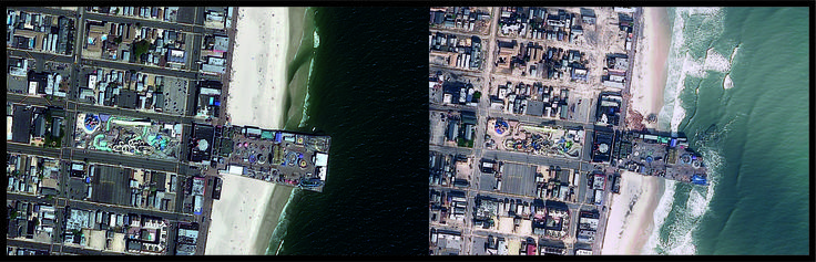 New Jersey severely impacted by Hurricane Sandy, the deadliest and most destructive hurricane of the 2012 Atlantic hurricane season, and the second-costliest hurricane in United States history. Satellite imagery of GeoEye-1 courtesy of DigitalGlobe monitors this hazard by taking pre and post pictures of the New Jersey beach in 2010 and 2012.   Over two million households in the state lost power in the storm, 346,000 homes were damaged or destroyed and 37 people were killed.  Image ©…