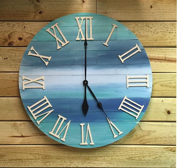 Large Round Wood Beach Wall Beach Clock  30 by BeachWallDecor