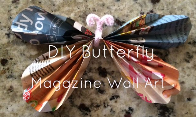 Blog Post: DIY Butterfly Magazine Wall Art - 5 Simple Steps to creating beautiful wall art using those old magazines you have laying around the house.  #DIYwallart #MagazineButterflies