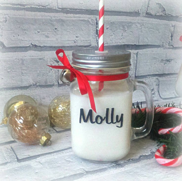 Personalised Mason jar, Christmas eve gift A great gift for adults or children. Great for giving on Christmas eve filled with drinking chocolate and marsh mallows or sweets. Adult version is an ideal size to add miniatures. This would also make great stocking fillers for all the family members The jar comes with a paper straw and is handtied with ribbon and silver jingle bell. The jar is approximately 12.5 cm/5 inches tall and 7cm /3 inches wide. If you prefer different colour text just…