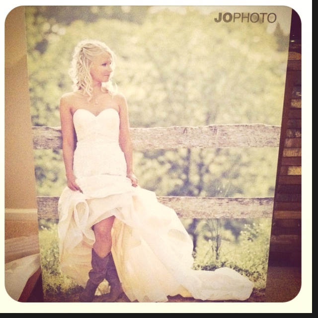 Just received a new 30x40 canvas of one of our brides in cowgirl boots for a local bridal studio to display! www.jophotoonline.com