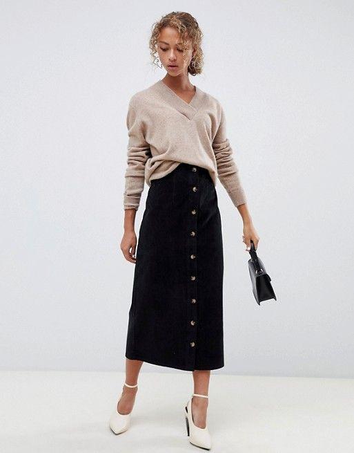 2ed1a73ed9 ASOS DESIGN | ASOS DESIGN uncut cord button through midi skirt in washed  black