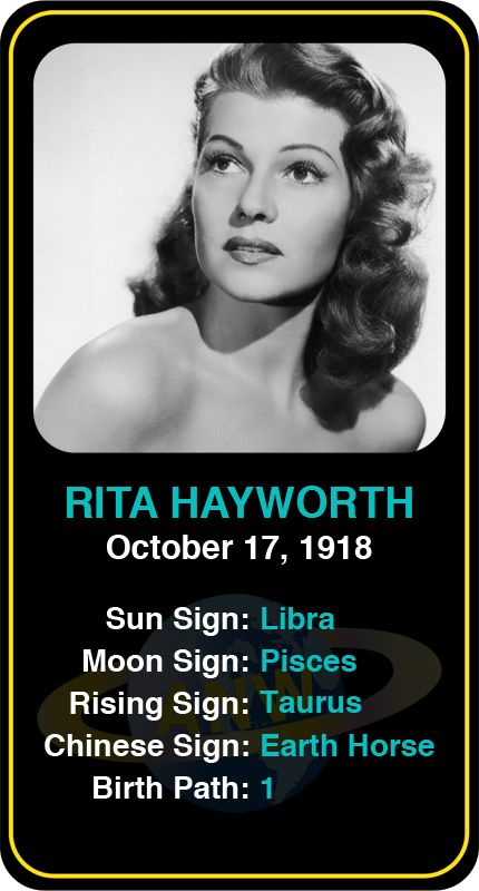 Celeb #Libra birthdays: Rita Hayworth's astrology info! Sign up here to see more: astroconnects.com #astrology #horoscope #zodiac #birthchart #natalchart #ritahayworth