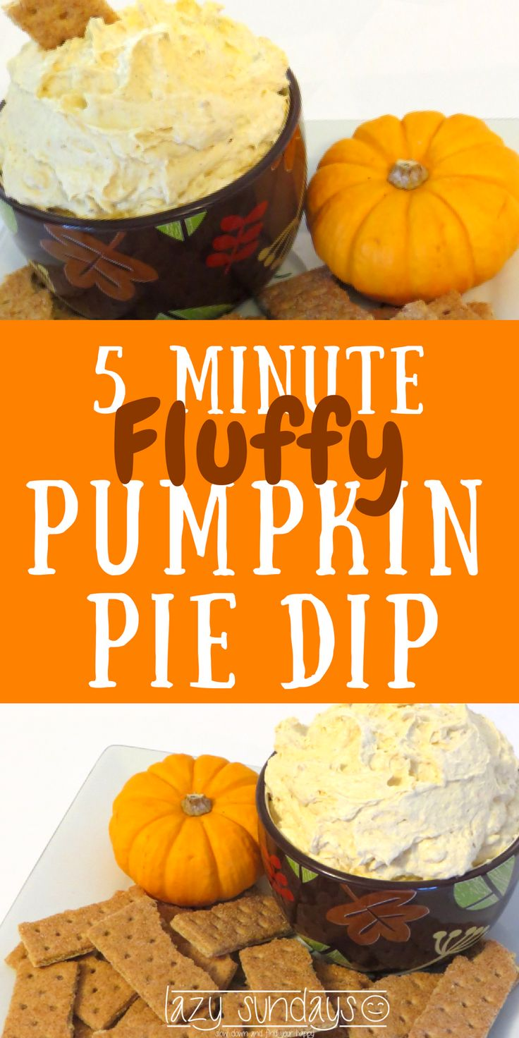 5 Minute Pumpkin Pie Dip - Need a fast and delicious snack idea? This is a light and fluffy sweet dip, perfect for all of those fall gatherings. Really only takes 5 minutes to make! #pumpkindip #snack #dessert #halloween #thanksgiving #fall