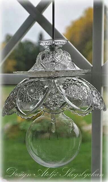 Lighting made from repurposed glassware.....great idea - visit the website!