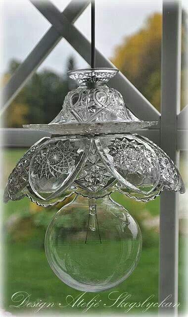 Lighting made from repurposed glassware.
