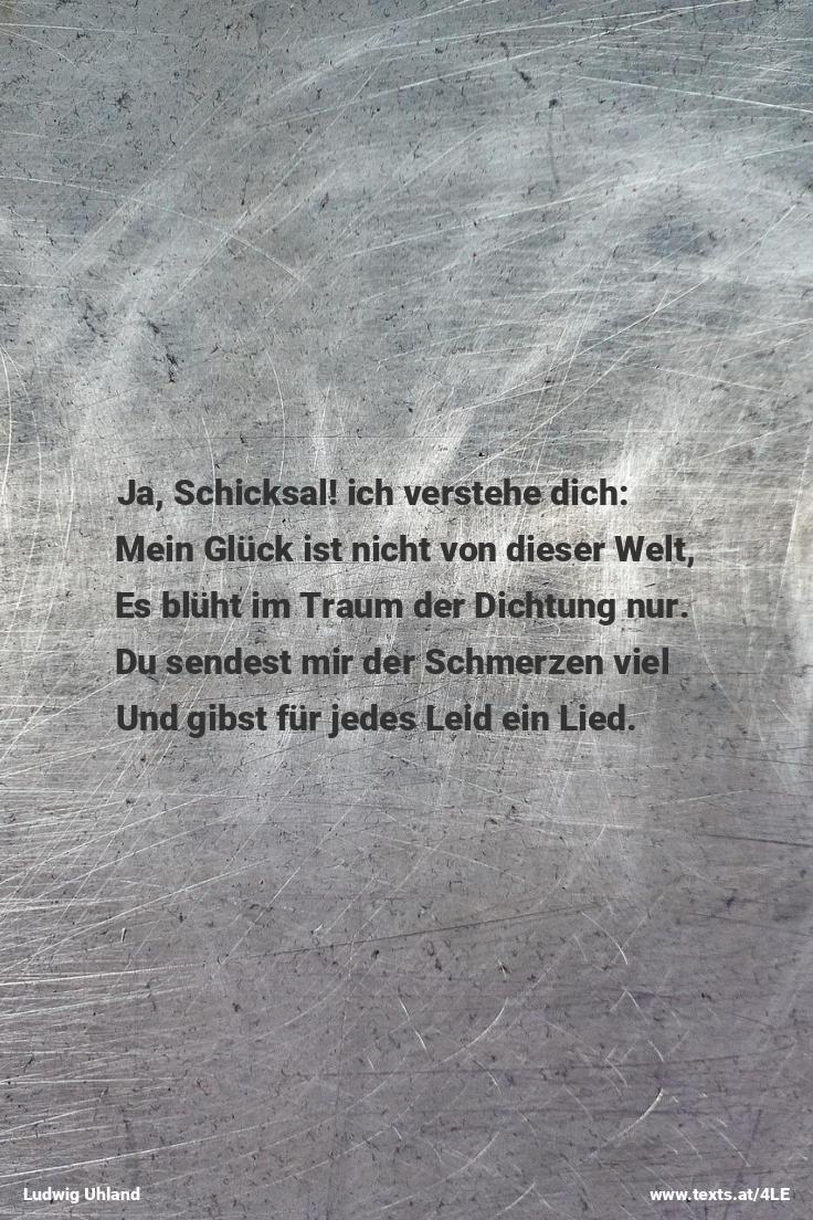 """Mein Glück ist nicht von dieser Welt... aus """"Schicksal"""" von Ludwig Uhland https://www.texts.at/4LE  #Gedicht #Uhland"""