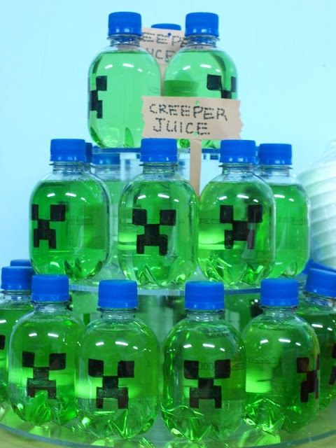 Minecraft Birthday Party Ideas…omg the boys and girls would love this!! I used gaterade