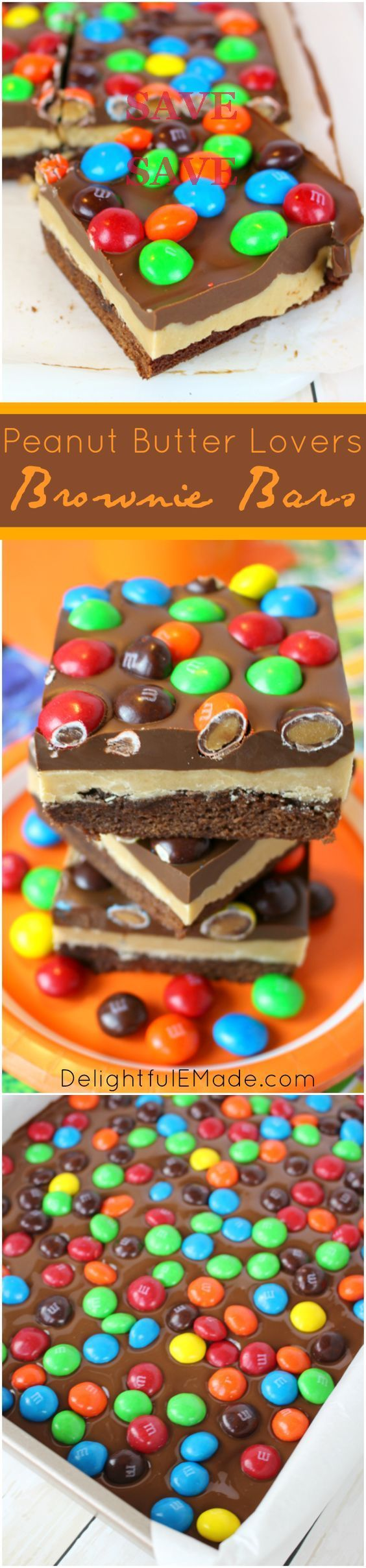 If you're a chocolate and peanut butter lover, these brownies are for you!  Rich, fudgy brownies are layered with peanut butter filling, a chocolate peanut butter ganache and topped with Peanut Butter M&M's® candies!  The perfect treat for family game night, or anytime you're in the mood for a chocolate and peanut butter treat! #ad #GameNightIn