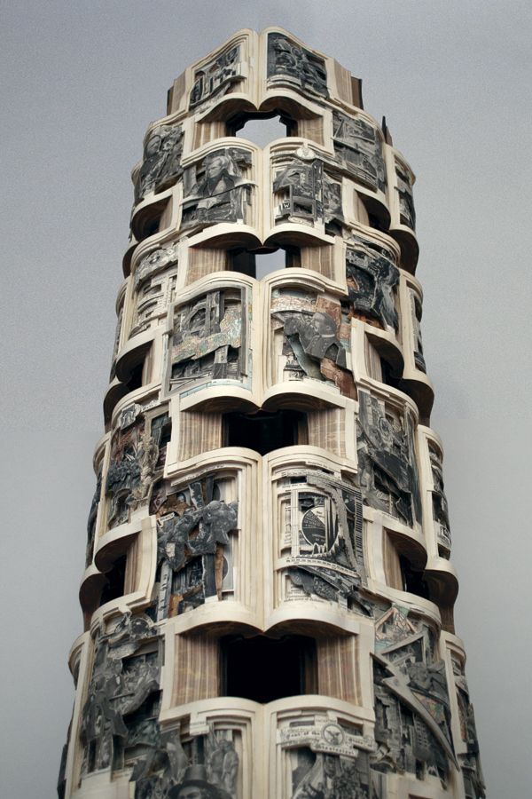 Photo of book sculpture by Brian Dettmer