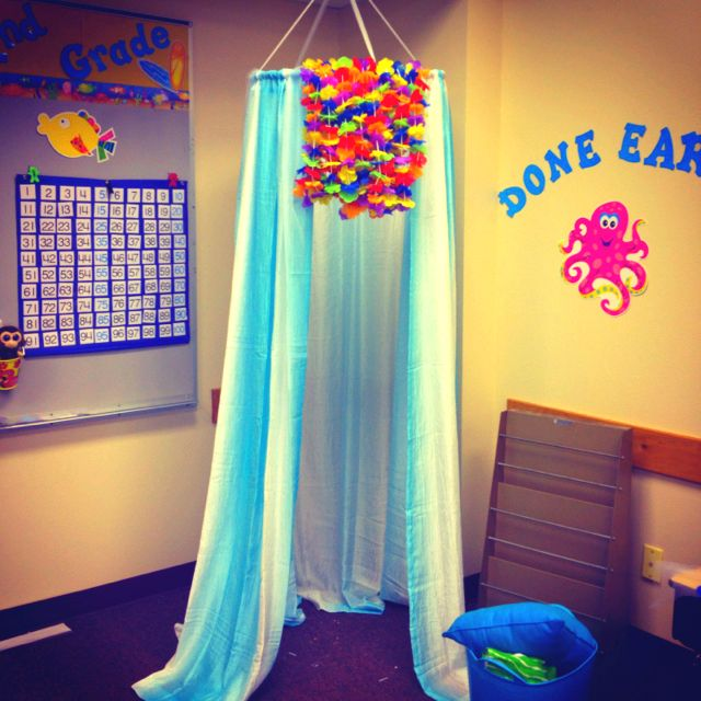 Beach/ocean themed classroom. Canopy made with a small hula hoop 4 Walmart shower curtains and lays from dollar tree!