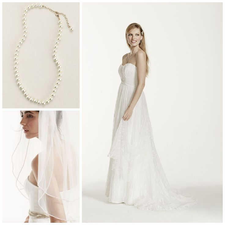 Gown KP3696, Veil V390, Necklace 80018 || David's Bridal Busts Out A Big Ol' Heaping of Savings