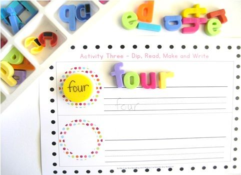Dip, Read, make and write. http://www.teacherspayteachers.com/Product/Bottle-Cap-Reading-and-Writing-Centers-x-5-for-any-word-list-836700