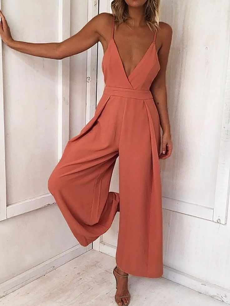 Deep V Knotted Backless Wide Leg Jumpsuit (S/M/L/XL) $30.99