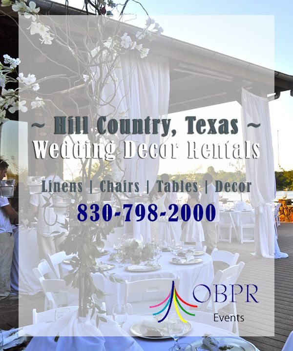 Need wedding decor rentals? Out Back Party Rentals is the premier renter of wedding decor and wedding rentals in Marble Falls, Texas and its surrounding Hill Country areas, including Horseshoe Bay, Blanco, Burnet, and Kerrville, Texas. Our showroom is located at 2000 S. Hwy 281 Marble Falls, TX 78654. Call 830-798-2000