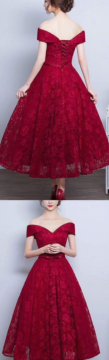 red lace tea length dress