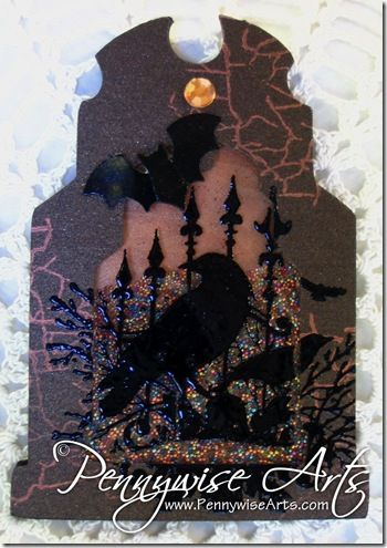 Tombstone Shaker ATC Card by Suzanne Glazier, www.PennywiseArts.com  Shaker cards are so addicting to make and shake!!