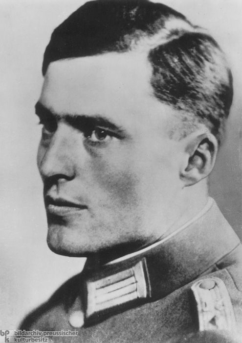Colonel Claus Graf Schenk von Stauffenberg (1907-1944) was central to the planning and execution of the July 20th plot, the most wide-ranging conspiracy against the Nazi regime. Stauffenberg detonated a bomb in the headquarters and rushed off to Berlin, thinking he had killed Hitler.  Nazi leadership immediately initiated effective counter-measures and destroyed the attempted putsch within a short time. Stauffenberg was arrested and shot the same night.