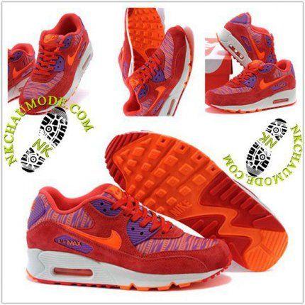 Mode | Nike Chaussure Sport Air Max 90 Femme Pourpre Pattern/Orange