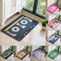 Wish | Classic Music Tapes Vintage CD Printed Bathroom Kitchen Anti-Slip Floor Mats Living Room Bedroom Coral Fleece Carpet