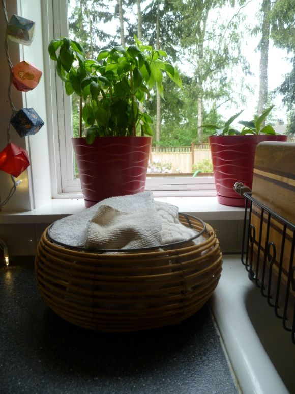 Use a basket of cloth on your counter in lieu of a roll of paper towels...See our Zero Waste Household Guide: Kitchen Solutions post for more tips, and share your own ideas!