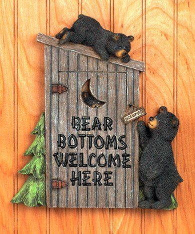Image Detail for - Black Bear Bathroom OUTHOUSE Wall Plaque Cabin Lodge for sale - New ...