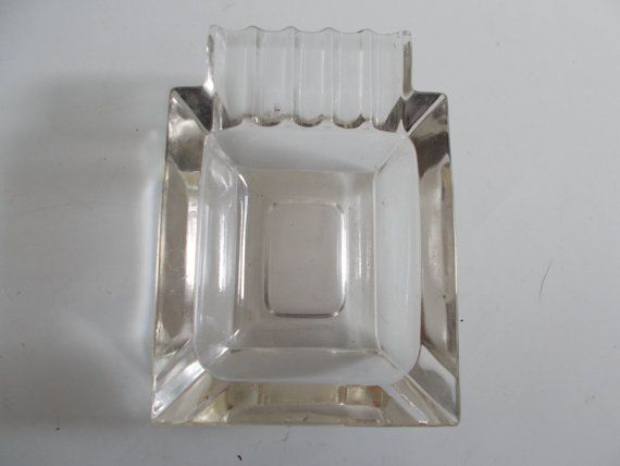 Vintage Ashtray Clear Glass Rectangular Art Deco Style