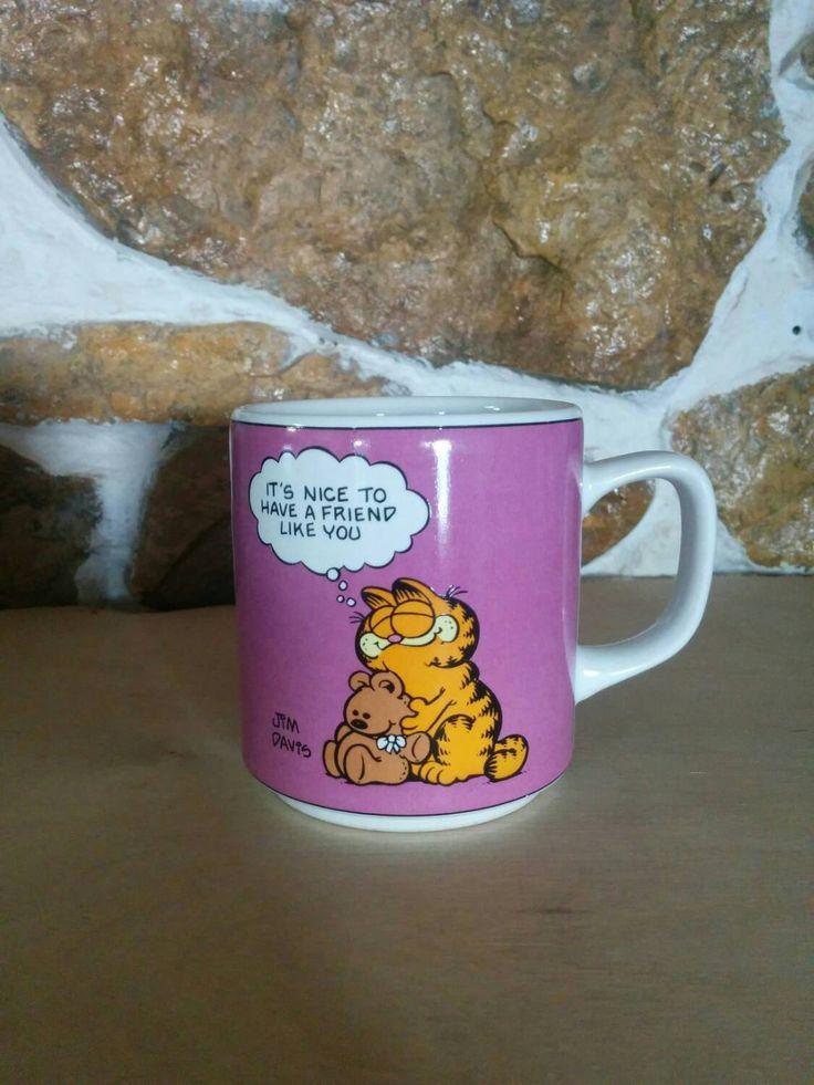 Vintage 1978 Garfield Friendship Mug! Official Garfield Merchandise! Purple Coffee Mug by BambooBimbo on Etsy