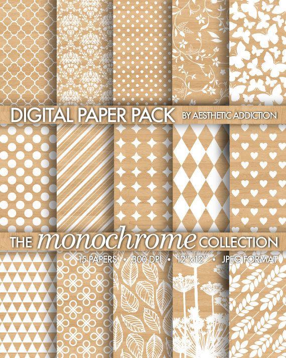 Motifs blancs sur la Texture du bois document numérique d'information imprimable fins personnelles ou commerciales utilisent Collage numérique - 15 feuilles - 15059 sur Etsy, 2,25€