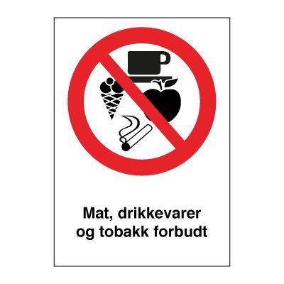Mat, drikke og tobakk forbudt - Kjøp Forbudsskilt her