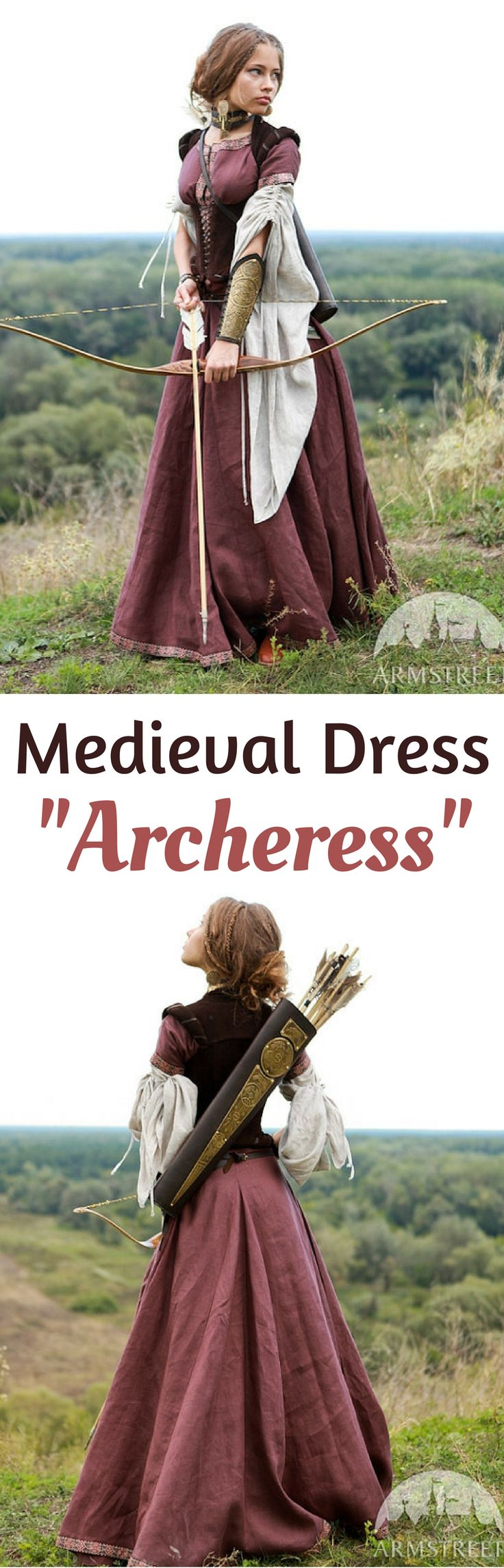 """I love this linen Medieval Renaissance Dress """"Archeress"""" with Chemise and Corset! It looks gorgeous! Available in different colors. NNT  #affiliate #medieval #Dress #beautiful #linen #burgundy #PrettyDress #gift #archer #GIFTIDEA medieval renaissance dress princesses 