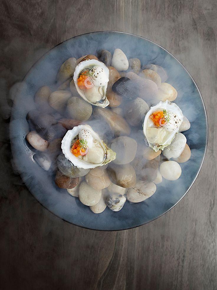 Shigoku oysters mignonette with kohlrabi by chef Matt Lambert. Photo by Signe Birck