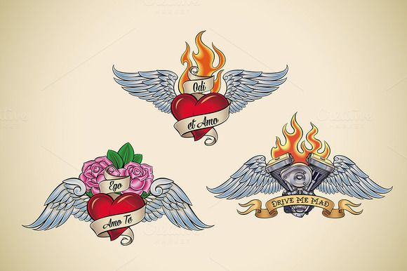 Old School Tattoo (3x) by Artefy's Graphic Bar on Creative Market