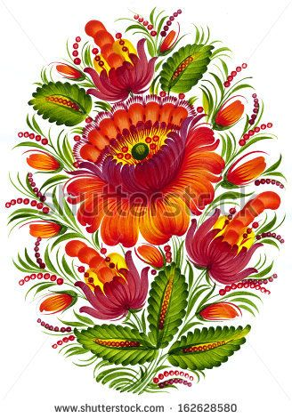high resolution, hand drawn illustration in Ukrainian folk style by VectorFlower, via ShutterStock