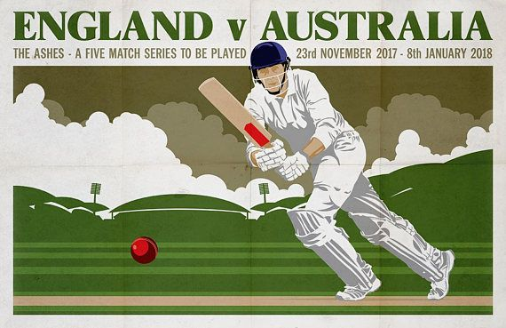 Vintage Cricket Poster Pastiche | 2017 Ashes Test Series | 17 x 11 Digital Print by Dadmancat